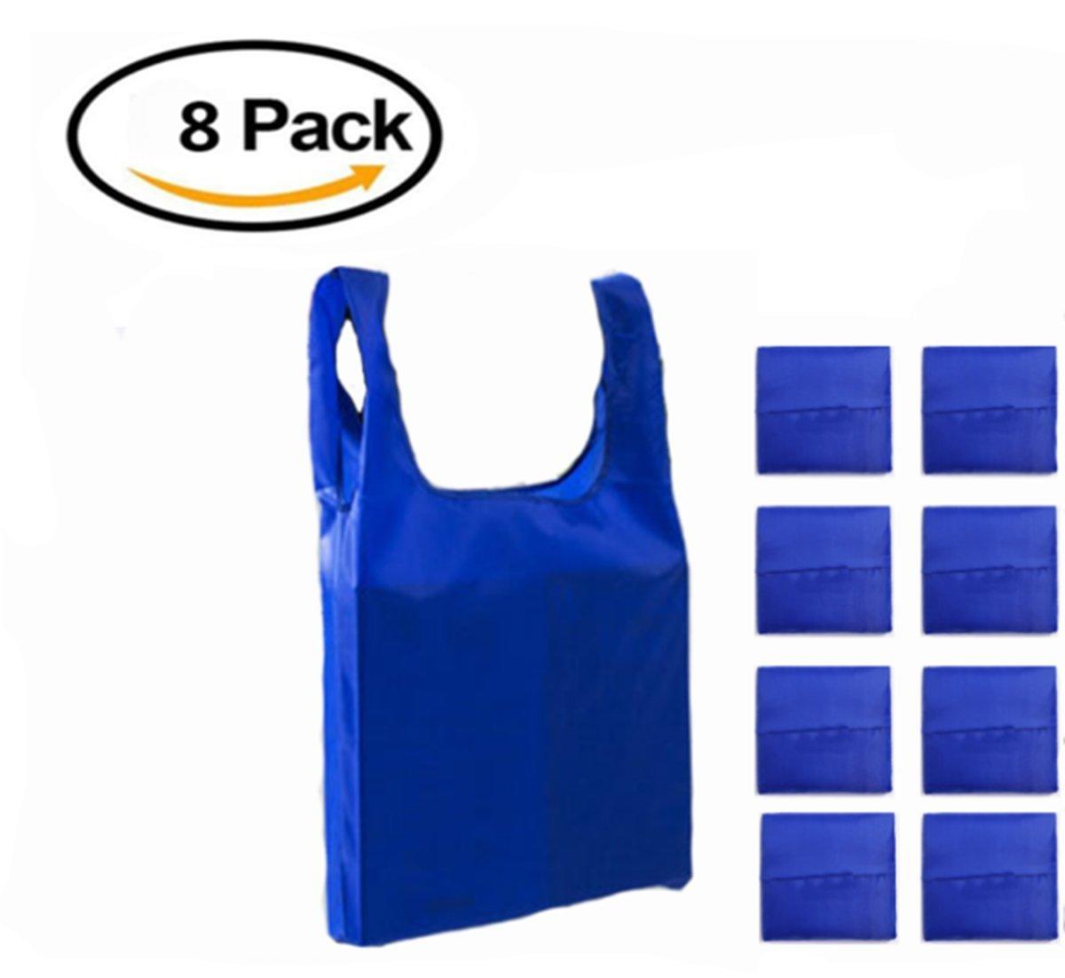 lzJz 8ピースの再利用可能な環境Groceryバッグ、食料雑貨バッグ折りたたみintoアクセサリーバッグ、て簡単、tear-proof再利用可能なショッピングバッグ、丈夫で軽量、洗濯可能 ブルー B07CQ489YN  ロイヤルブルー
