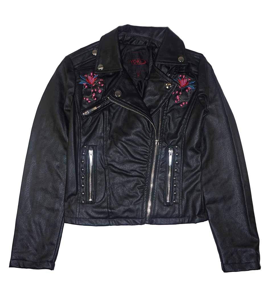 fd3bf2c8ccda Yoki Little Big Girls PU Faux Leather Jacket