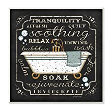 The Stupell Home Decor Collection Tranquility Tub Icon Textual Bathroom Art Wall Plaque
