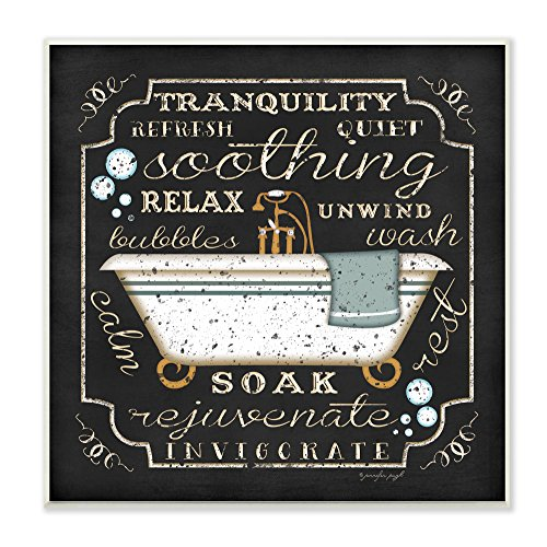 Stupell Home Décor Tranquility Tub Icon Textual Bathroom Art Wall Plaque, 12 x 0.5 x 12, Proudly Made in USA Bathroom Home Decor