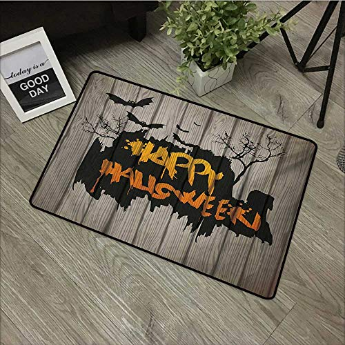 Learning pad W16 x L24 INCH Halloween,Happy Graffiti Style Lettering on Rustic Wooden Fence Scary Evil Holiday Artwork,Multicolor Our Bottom is Non-Slip and Will not let The Baby Slip,Door Mat Carpet]()