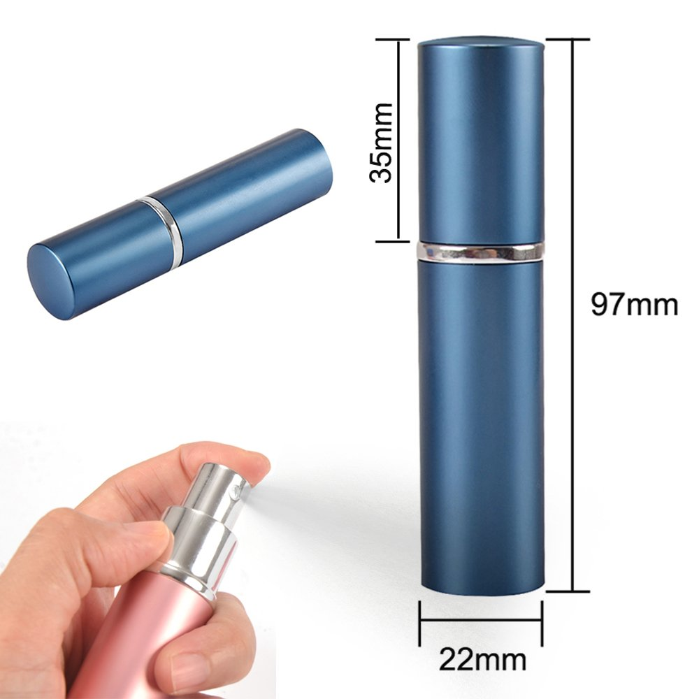 SHiZAK 4x 10ml Stylish (Colors Black, Silver, Blue and Pink) Travel Perfume Bottle Atomiser Refillable Fragrance Perfume Atomizer Empty Aftershave Spray Bottle