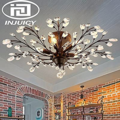 Injuicy Lighting Vintage K9 Crystal Metal Edison Branches Led Ceiling Lights Fixtures Retro Wrought Iron French Villa Ceiling Lamp Shade for Living Room Bedroom Porch Chandelier (Black Dia.30.7 Inch)