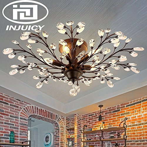 Living Room Ceiling Lighting - Injuicy Lighting Vintage K9 Crystal Metal Edison Branches Led Ceiling Lights Fixtures Retro Wrought Iron French Villa Ceiling Lamp Shade for Living Room Bedroom Porch Chandelier (Black Dia.30.7 Inch)