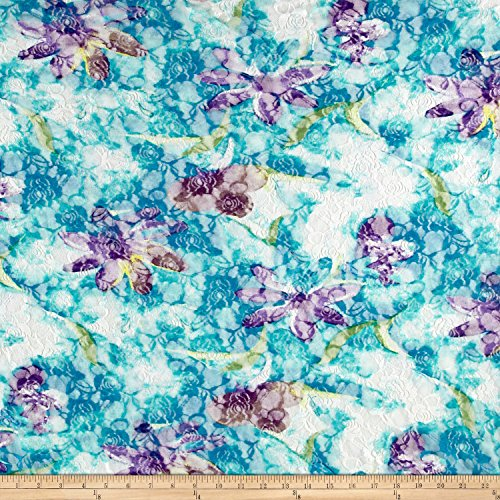 Printed Stretch Lace Floral White/Teal/Aqua/Green Fabric By The Yard (Aqua Floral Fabric)