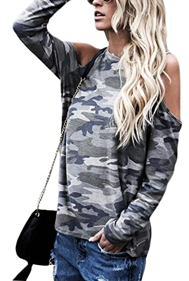 45de27f3fce182 ONTBYB Womens Long Sleeve Cold Shoulder Camouflage Print T Shirt Blouse  Tops Army Green XS