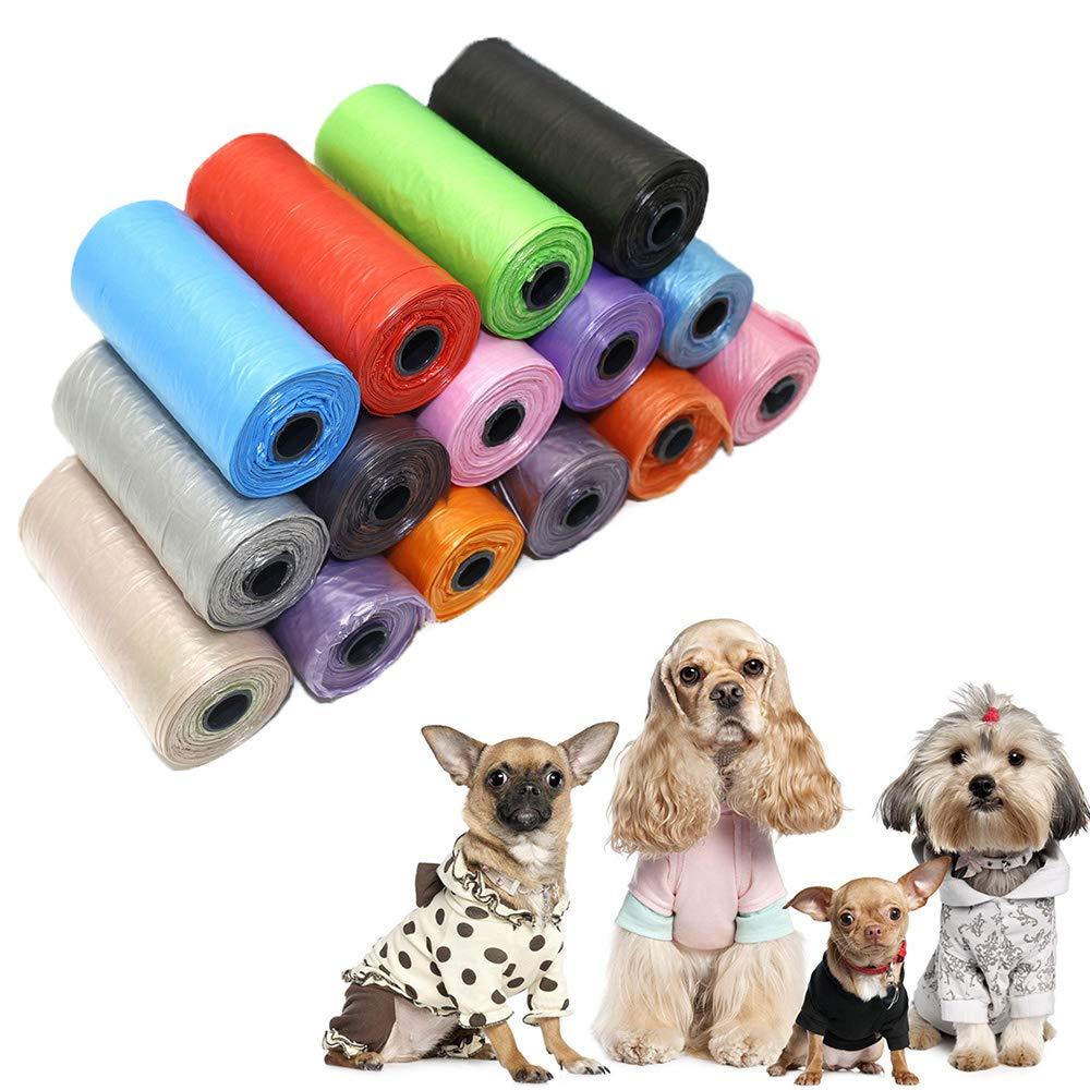 LINYANMY 15 Unids/Rollo Recoger Mascotas Bolsa de Basura Viaje Mascotas Bolsas Pooper para Perros Gatos Limpieza de Autos Bolsa de Basura Eco (Color Al Azar)