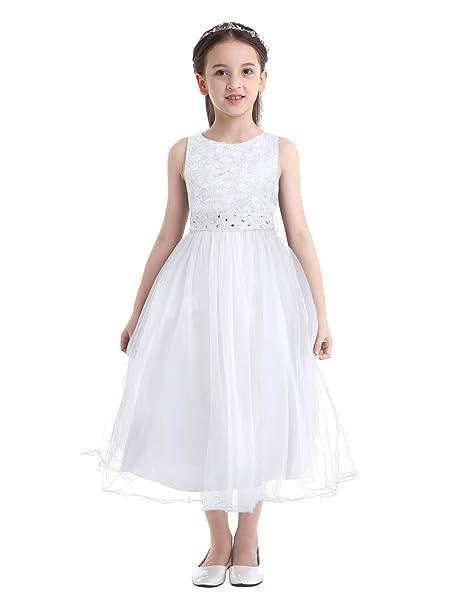 YiZYiF Vestido Princesa Fiesta para Niñas Vestido de Boda con Lentejuelas Vestido Largo Ceremonia Falda Tutú Traje Elegante Bautizo Comunión 2-14 Años