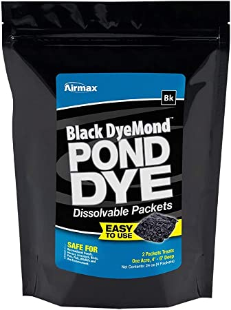 24 PACK BLACK POND DYE POWDERED EASY TOSS DISSOLVABLE WATER SOLUBLE