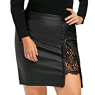 Jaminy Women Sexy Waisted Leather Lace Patchwork Mini Skirt Tight Fitted Bodycon Skirt Night Club Party Dress