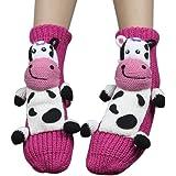 Warm Winter Indoor Floor Slipper Socks 3d Cartoon Animal Christmas Non-Skid House Socks for Women
