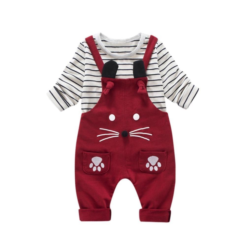 2pcs bebé niño pequeño niños niña rayas de la raya Tops + pantalones trajes ropa conjunto