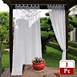 NICETOWN Outdoor Curtain for Pergola – Casual Look Faux Linen Fabric Mildew Resistant Semi Voile Panel with Rope Tie Back for Cabana & Canopy (1-Pack, 54 Inch Wide by 108 Inch Long, White) Review