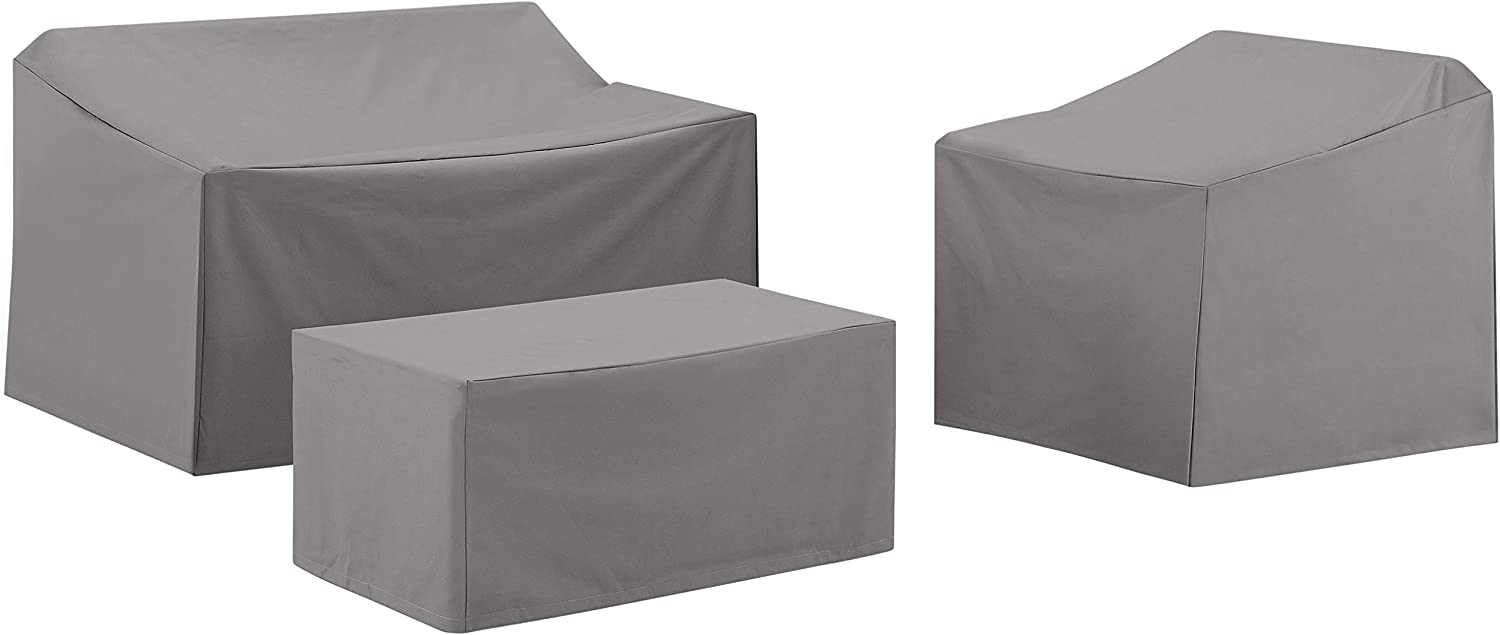 Crosley Furniture MO75003-GY Heavy-Gauge Reinforced Vinyl 3-Piece Furniture Cover Set (Loveseat, Chair, Coffee Table), Gray