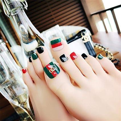 24pcs Uñas postizas, Uñas de los pies Falsa Artificial, Cortas, con Pegamento, para Decoración del Arte del Uñas: Amazon.es: Belleza