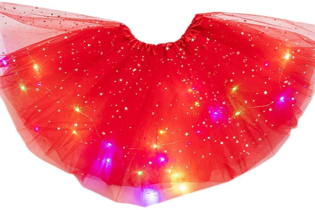 Tincocen Tutu Skirt Magic Light Princess LED Dancing Skirt Luminous Christmas Party Stage Cute Tulle Ballet Children Girl Costume