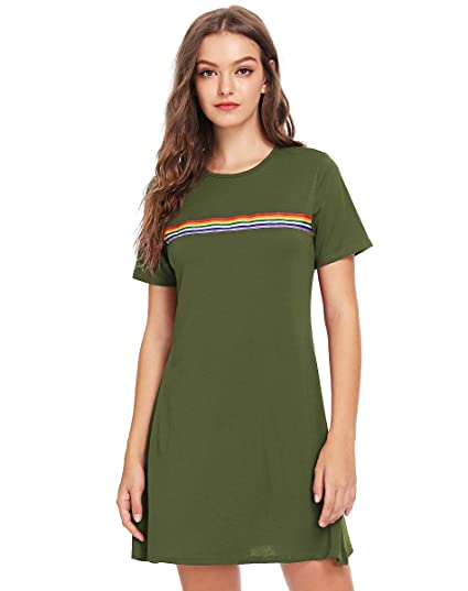 91813ad6c41e1 Romwe Women's Comfy Swing Tunic Short Sleeve Contrast Striped T-Shirt Dress  Green S