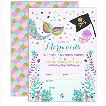 amazon com mehofoto mermaid birthday invitations under sea mermaid