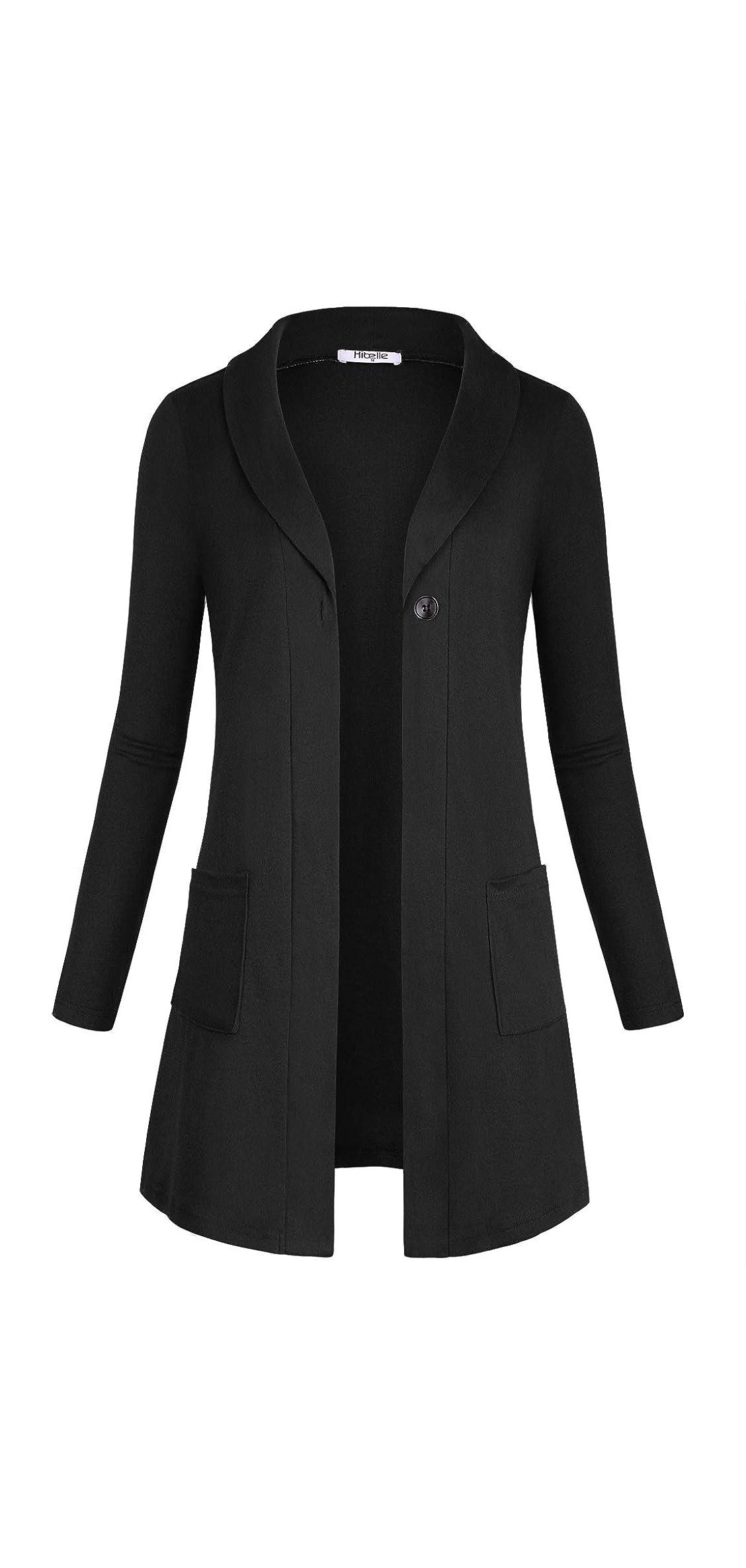Women's Open Front Pockets Long Sleeve Sweater Cardigan