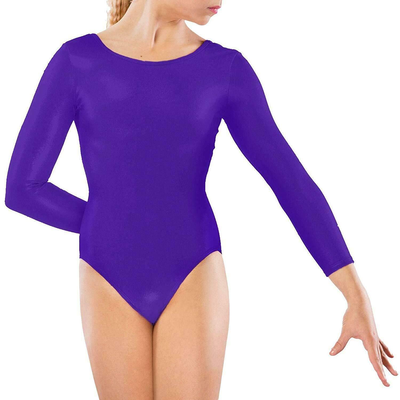 Girls Lycra Stretch Leotards Kids School PE Ballet Dance Gymnastics Full Sleeves Black,2-3 Years