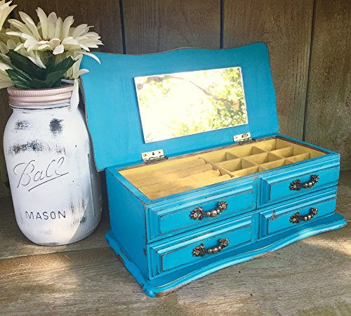 Amazoncom Bright Teal Blue Shabby Chic Jewelry Box Vintage