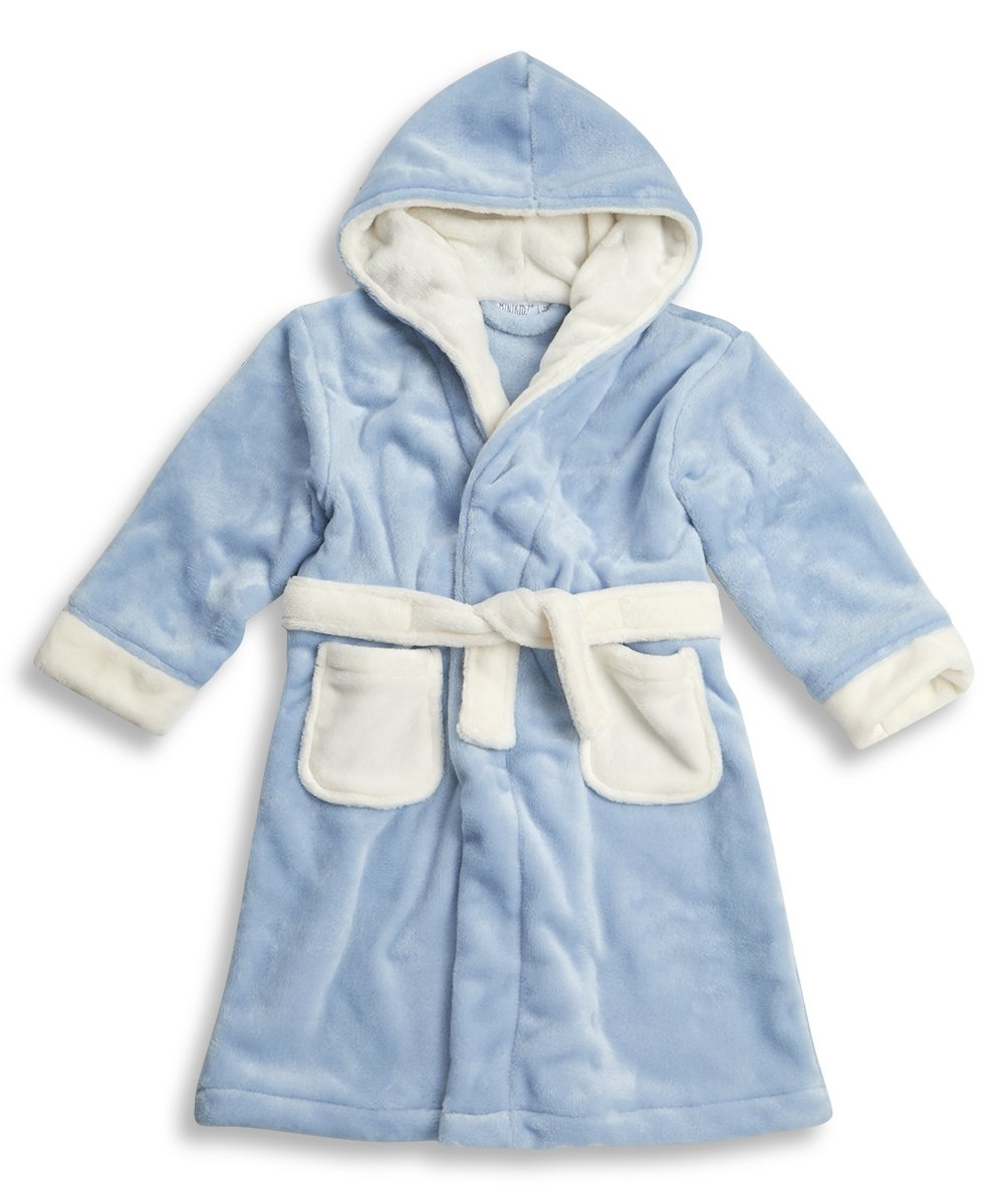 Minikidz Infant Boys Super Soft Hooded Fleece Dressing Gown