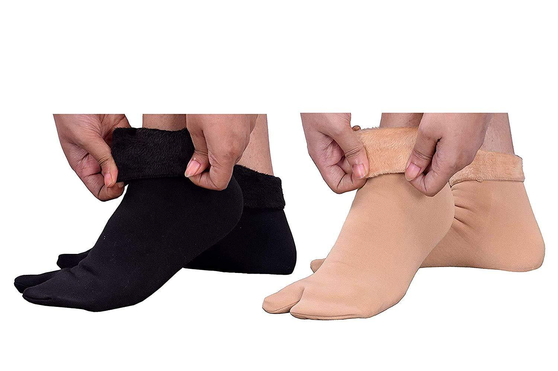 Velvet Winter Thermal Thumb socks for Women & Girls (Beige and Black, Pack of 2 Pairs)