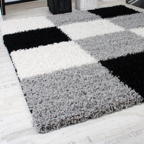 phc tapis shaggy longues mches hautes carreaux gris noir blanc dimension120x170 cm amazonfr cuisine maison - Tapis Gris Et Blanc