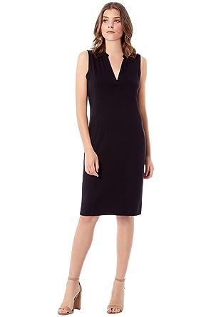 217a0d2dcf1652 Rohb by Joyce Azria Pacific Sleeveless Mandarin V-Neck Collared Dress (Black)  Size