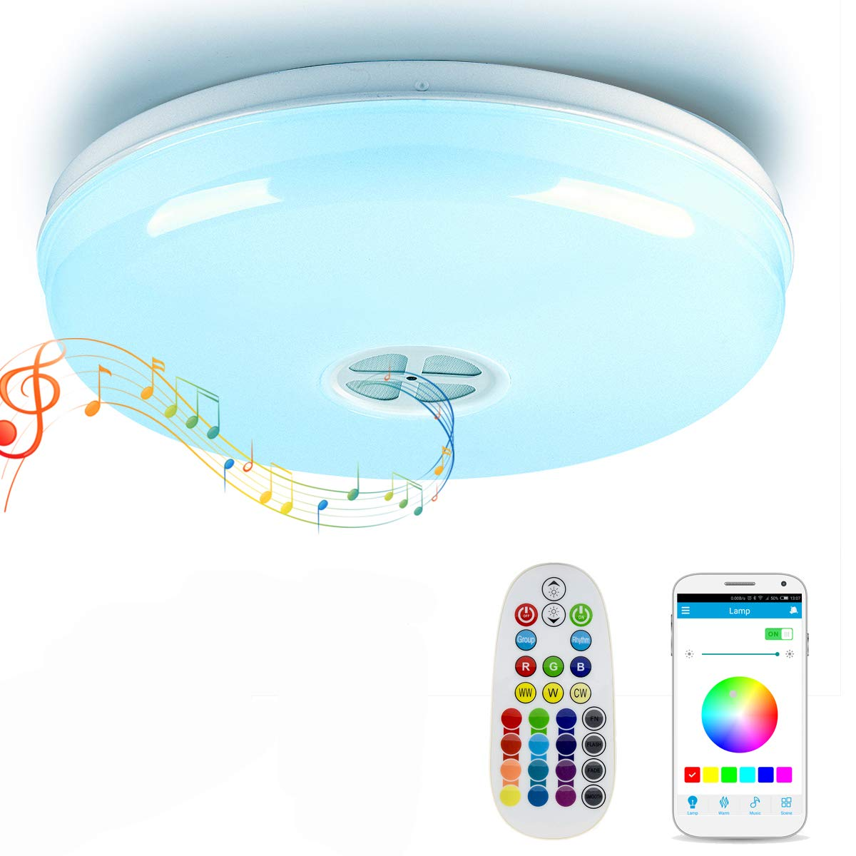 Autai Smart LED Ceiling Light Multi Color Changing and Dimmable with ...