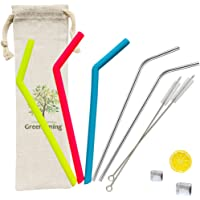 Reusable Travel Set - 3 Raibow Color Silicone Straw & 2 Stainless Steel & 2 Cleaning Brush, BPA Free & FDA Approve, fit for 30oz, 20oz Tumbler, Yeti Cup with Carrying Bag case