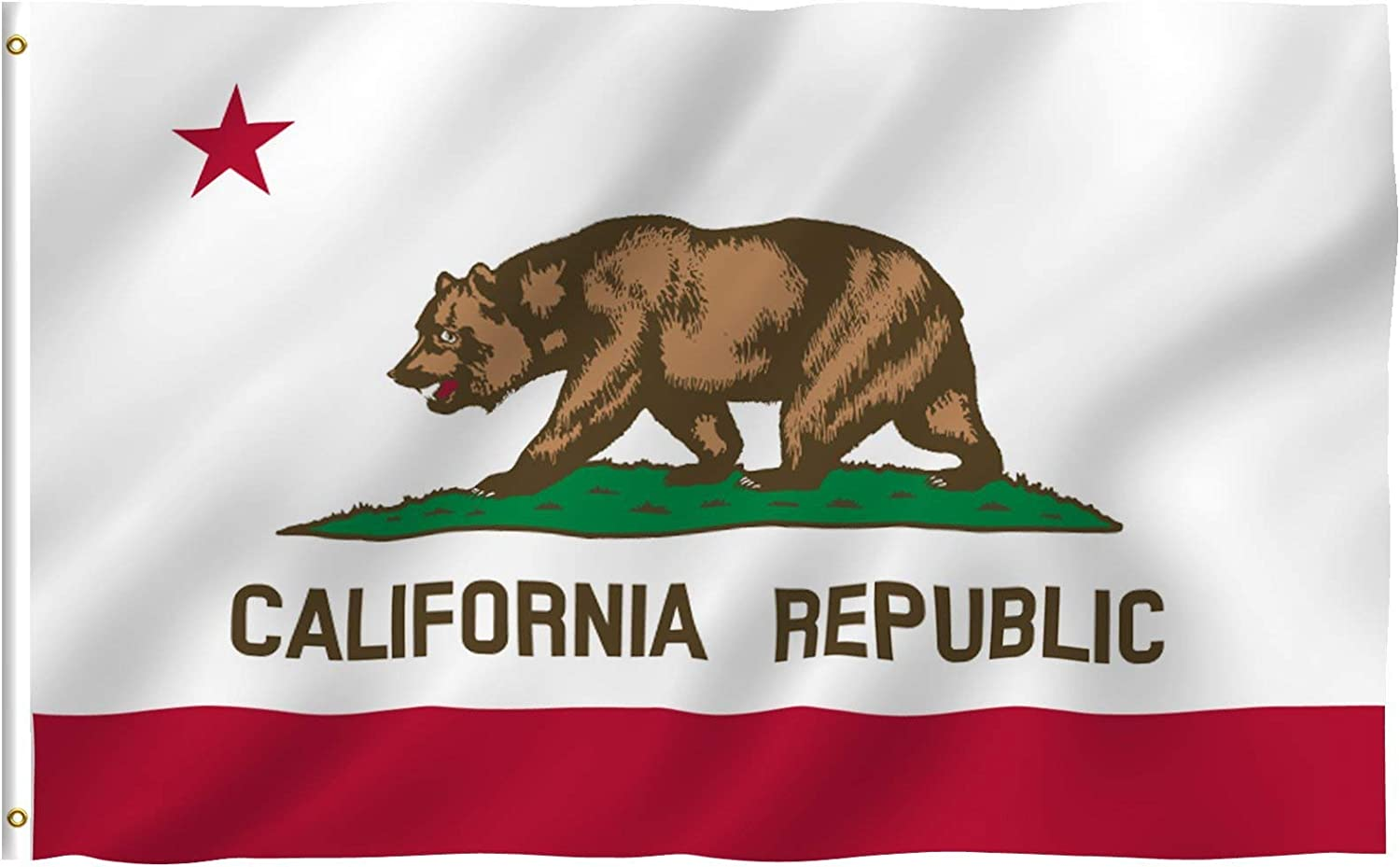 Anley Fly Breeze 4x6 Foot California State Flag - Vivid Color and Fade Proof - Canvas Header and Double Stitched -Californian CA Flags Polyester with Brass Grommets 4 X 6 Ft