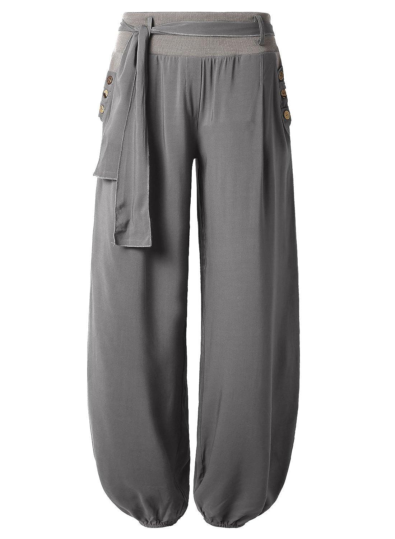 66ab94622a BAISHENGGT-Pantalones Anchos Para Mujer Bolsillos laterales barato ...