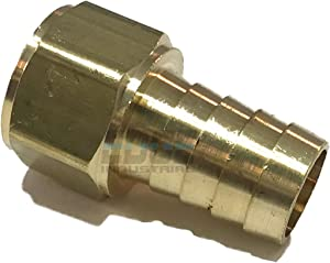 """EDGE INDUSTRIAL 5/8"""" Hose ID to 1/2"""" Female NPT FNPT Straight Brass Fitting Fuel / AIR / Water / Oil / Gas / WOG (Qty 01)"""
