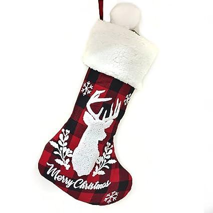 """20 """"arpillera blanca reno decorativo Navidad media, artesanía vacaciones árbol colgando calcetines adornos"""