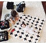 Baby Toddler Blanket,IEVE Black and White Swiss Cross Newborn Baby Throw Blanket Unisex (Cross)