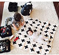 IEVE Black and White Swiss Cross Toddler Throw Blanket For Baby (Cross)