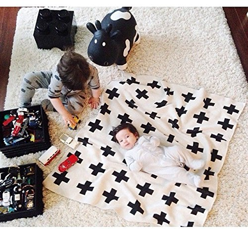 Baby Toddler Blanket,IEVE Black and White Swiss Cross Newborn Baby Throw Blanket Unisex (Cross) (Blanket Swiss)