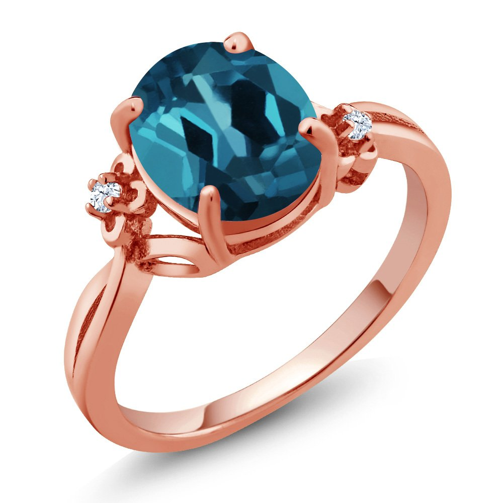 2.83 Ct Oval London Blue Topaz 14K Rose Gold Ring (Ring Size 7)