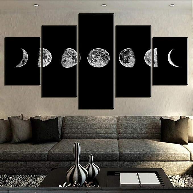 mmwin d Arte de Lienzo de 5 Piezas Cambios de Luna Cuadros Decoracion s en Lienzo Arte de Pared para Decoraciones de hogar Decoración de Pared Obra de Arte: Amazon.es: Hogar