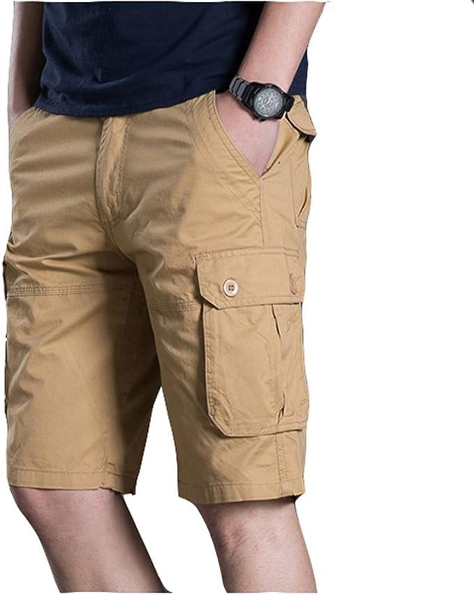 Hombres Cortos Pantalones Cargo Hombre Bermuda Cortos con Multi ...
