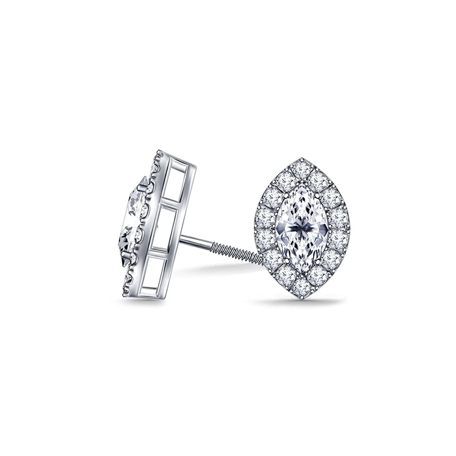 Smjewels 1.00 Ct Marquise & Round Cut Sim Diamond Halo Earrings In 14K White Gold Over