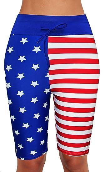 72d366dcec Womens Board Shorts Swimsuit Bottom High Waisted Tankini Long Sport Skinny  Capris Swim Shorts