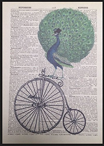 Vintage Peacock Penny Farthing dizionario pagina Wall Art Picture bicicletta Bird homemade