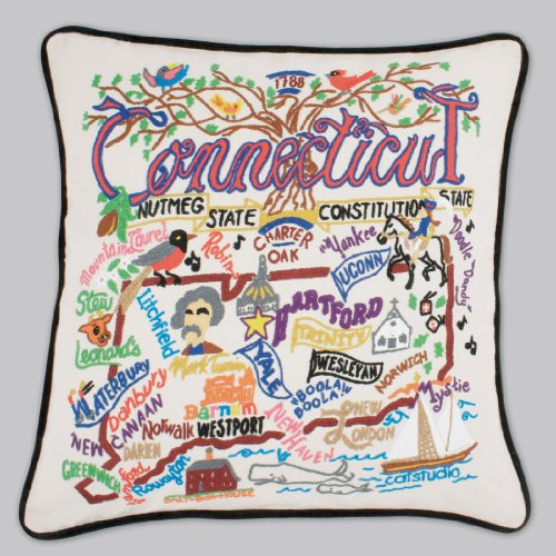 Catstudio Connecticut Pillow - Geography Collection Home Décor 011(CS) by Catstudio Embroidered Pillow