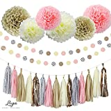 Liya Party Decoration - 15 Tassels, 6 Paper Pom Poms, 2 Circle Garlands; perfect for Bridal Showers, Bachelorette, Wedding and Birthday Parties; Pink, Rose Gold, Copper, Cream, Polka Dots