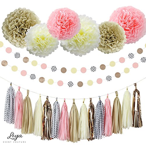 Liya Party Decoration - 15 Tassels, 6 Paper Pom Poms, 2 Circle Garlands; perfect for Bridal Showers, Bachelorette, Wedding and Birthday Parties; Pink, Rose Gold, Copper, Cream, Polka Dots (2 Rose Row Gold)