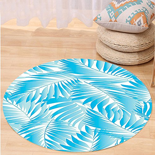 VROSELV Custom carpetLeaves Decor Miami Style Tropical Aquatic Palm Leaves With Exotic Colors Modern Summer Beach Bedroom Living Room Dorm Decor Turquoise Aqua Blue Round 72 inches (Repair Furniture Rattan Miami)