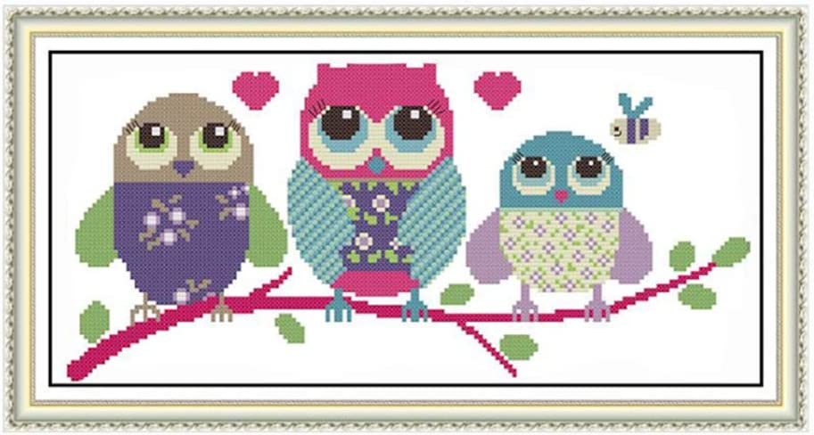 Proumhang 11CT Stamped Cross Stitch Lovely Animal Anime Simple Beginner Cross Stitch Embroidery Needlecraft DIY 3 Strands Canvas Aida Printed 48cm x 24cm:Lovely Owl