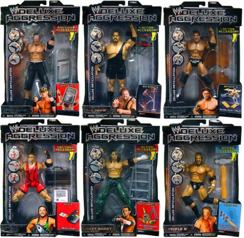 WWE Jakks Pacific Wrestling DELUXE Aggression Series 5 Set of 6 Action Figures (Deluxe Jakks Wwe)